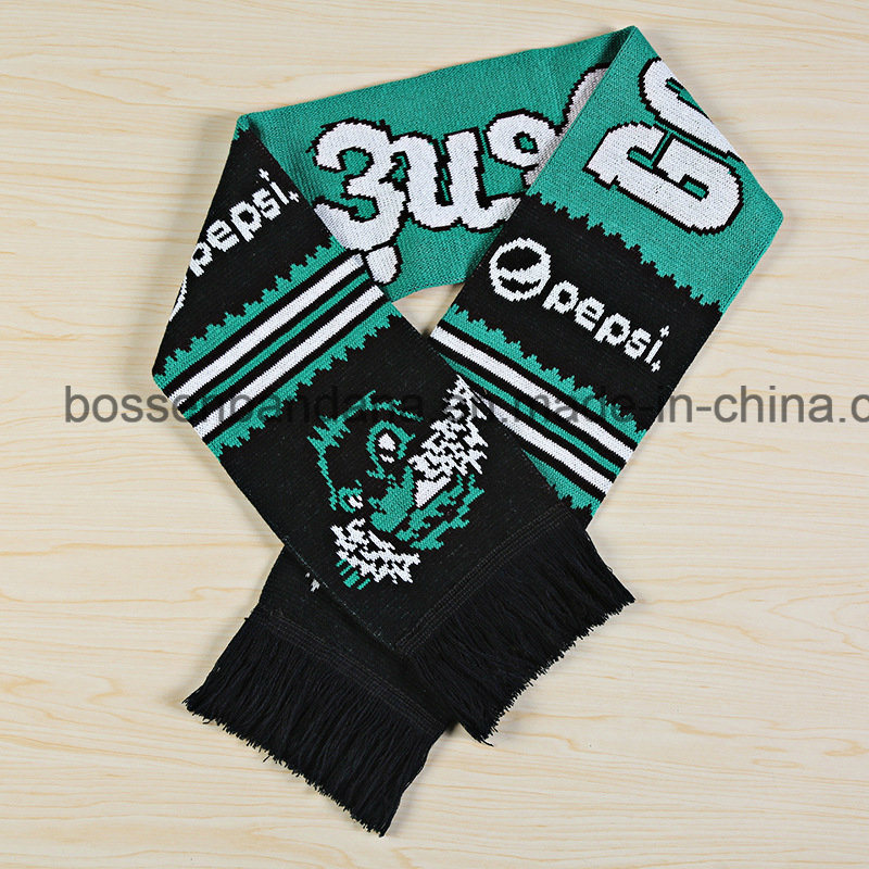 China Oem Custom Design Acrylic Knitted Warm Jacquard Football Fans