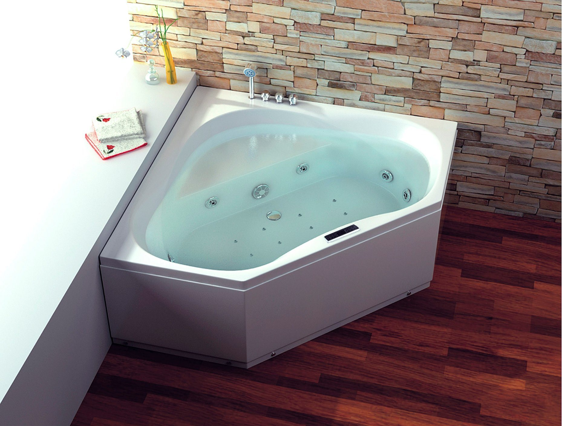 China CE Two Persons Corner Bathtub with Jacuzzi Air Bubble - China ...