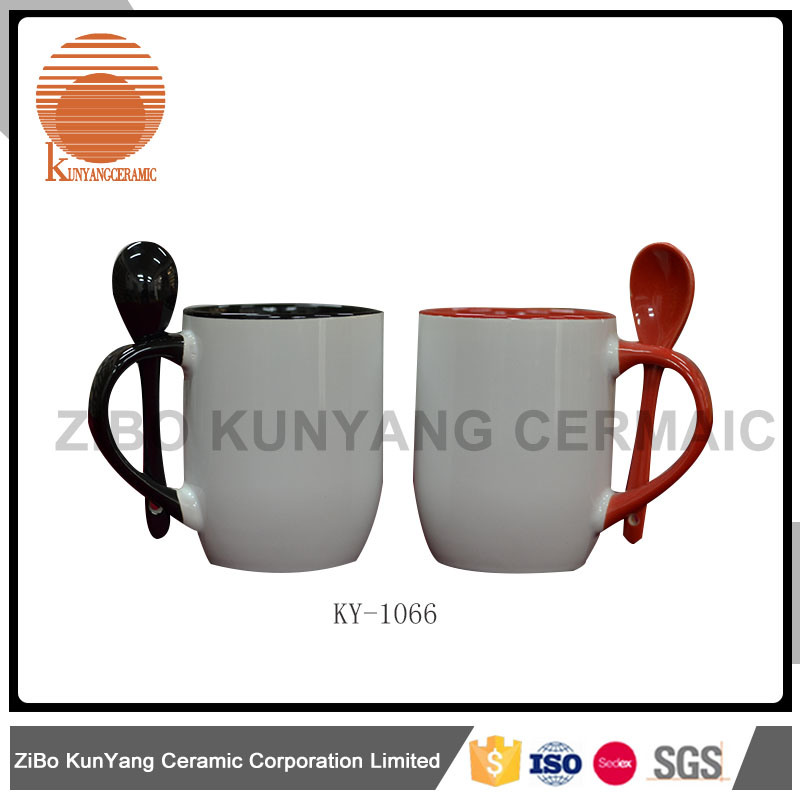 Color Rim, Color Inside and Color Handle Sublimation Mug with Spoon