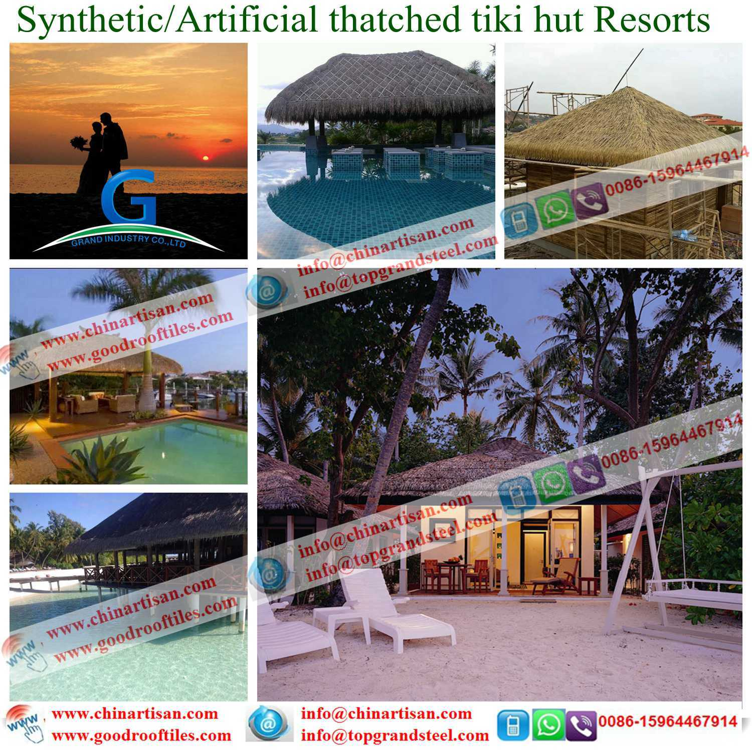 China Maldives Synthetic Thatched Roof Resort Bali Hawaii Artificial Thatch Tiki Bar Hut Cottage