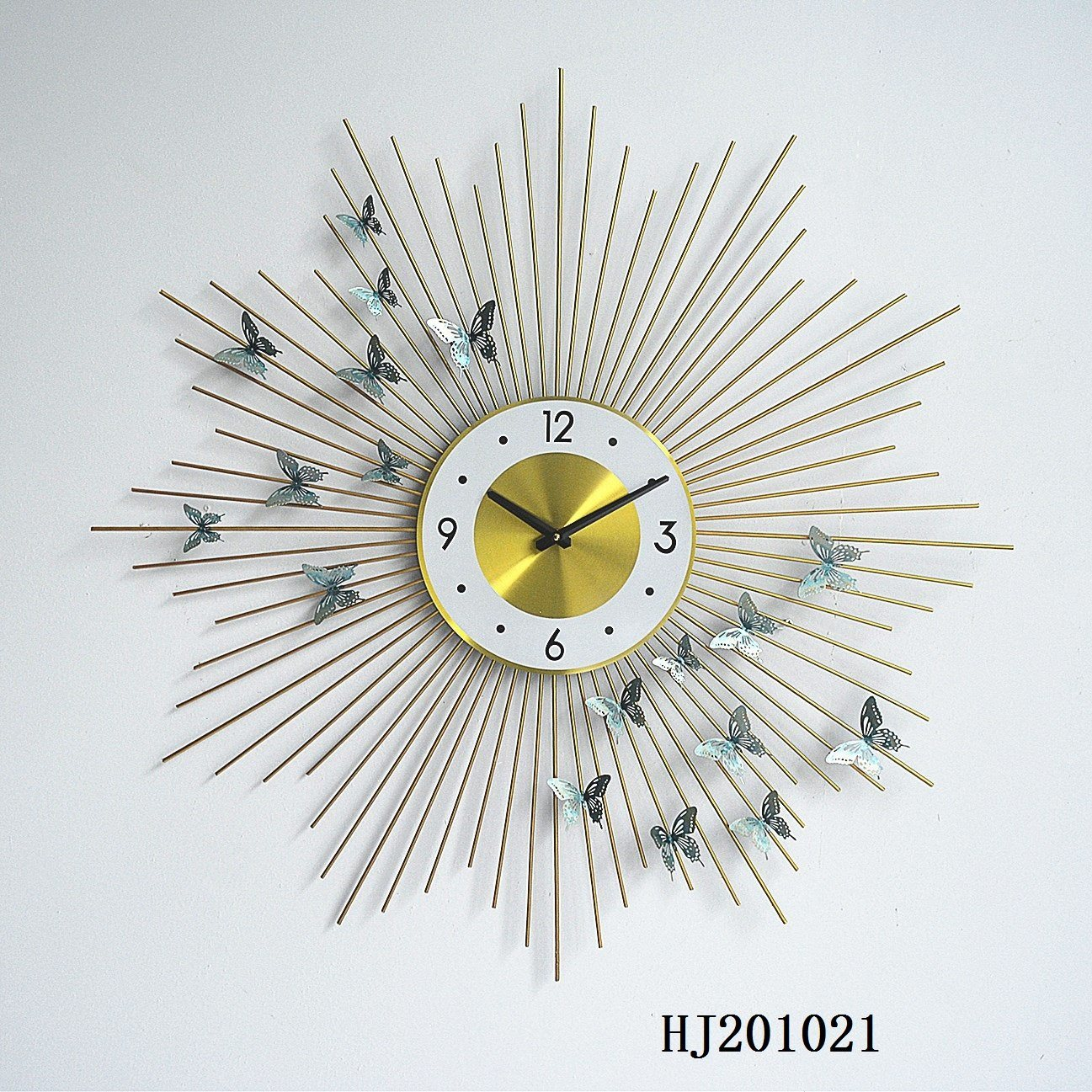 [Hot Item] Luxury Butterfly Wall Clock Beautiful Metal Unique Wall Mounted  Decorative Clock