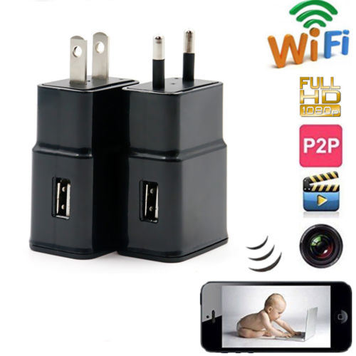 [Hot Item] 1080P Mini Wall Charger WiFi Security IP Video Camera Adapter  Plug Cam