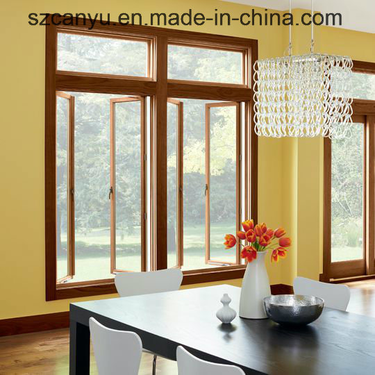 Customized Wood Color Double Glass Aluminum Casement Window pictures & photos