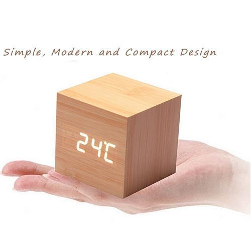 Portable LED Wooden Design Desk Clock