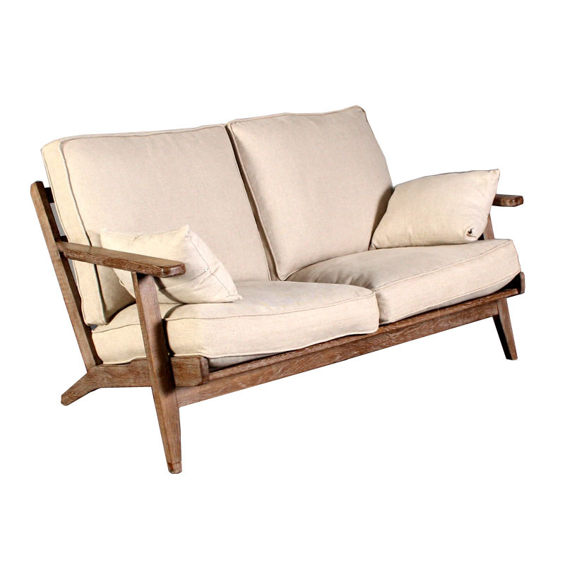 [Hot Item] Modern Simple Design Two Seats Solid Wooden Classic Sofa