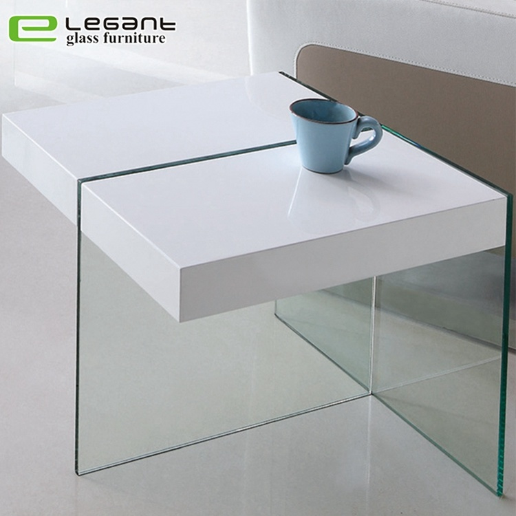 Hot Item Gl Side Table With Mdf In High Gloss White Color