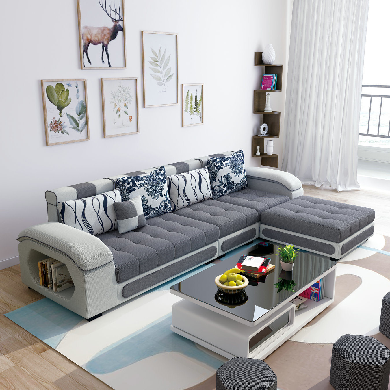 [Hot Item] L Shape Grey Color Sectional Fabric Couch Chaise Lounge (S889)