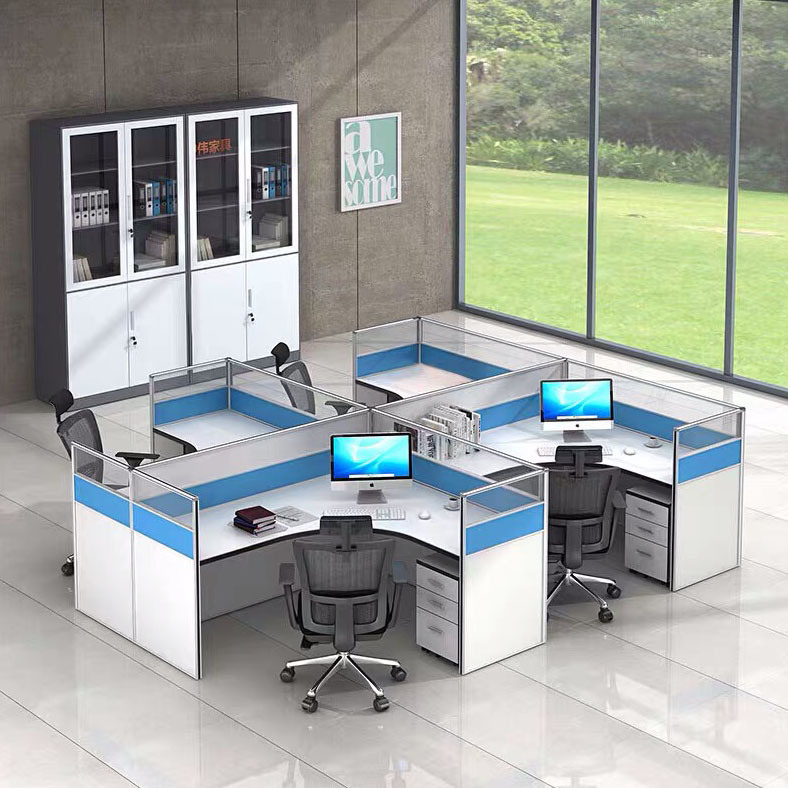 Blue Office Cubicle Desk