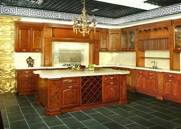 China Luxury Solid Wood Kitchen Cabinet (JZ004) - China ...