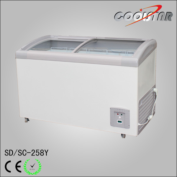 China 9 Cubic Feet Curved Glass Door Chest Freezer Ice Cream