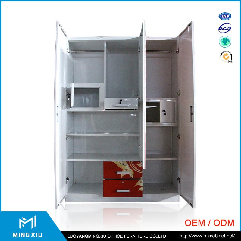 China High Quality Bedroom Furniture 3 Door Steel Wardrobe Cabinet
