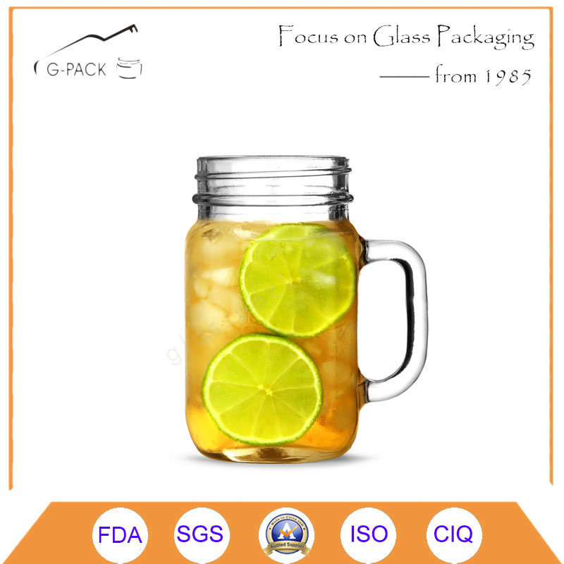 Glass Mason Jar, Drinking Glass with Handle and Printing pictures & photos