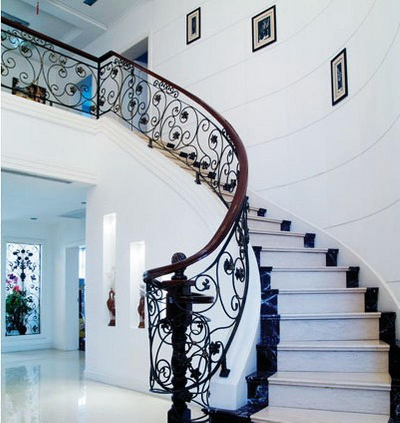 China Indoor Wrought Iron Stair Railing Design Interior Stair