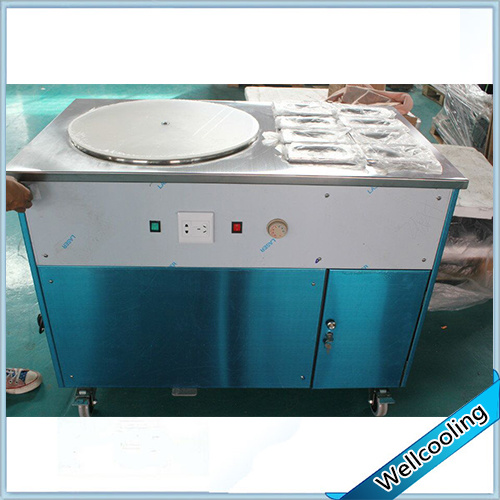 Ce High Quality Single Pan Roll Ice Cream Machine with 8 Toppings