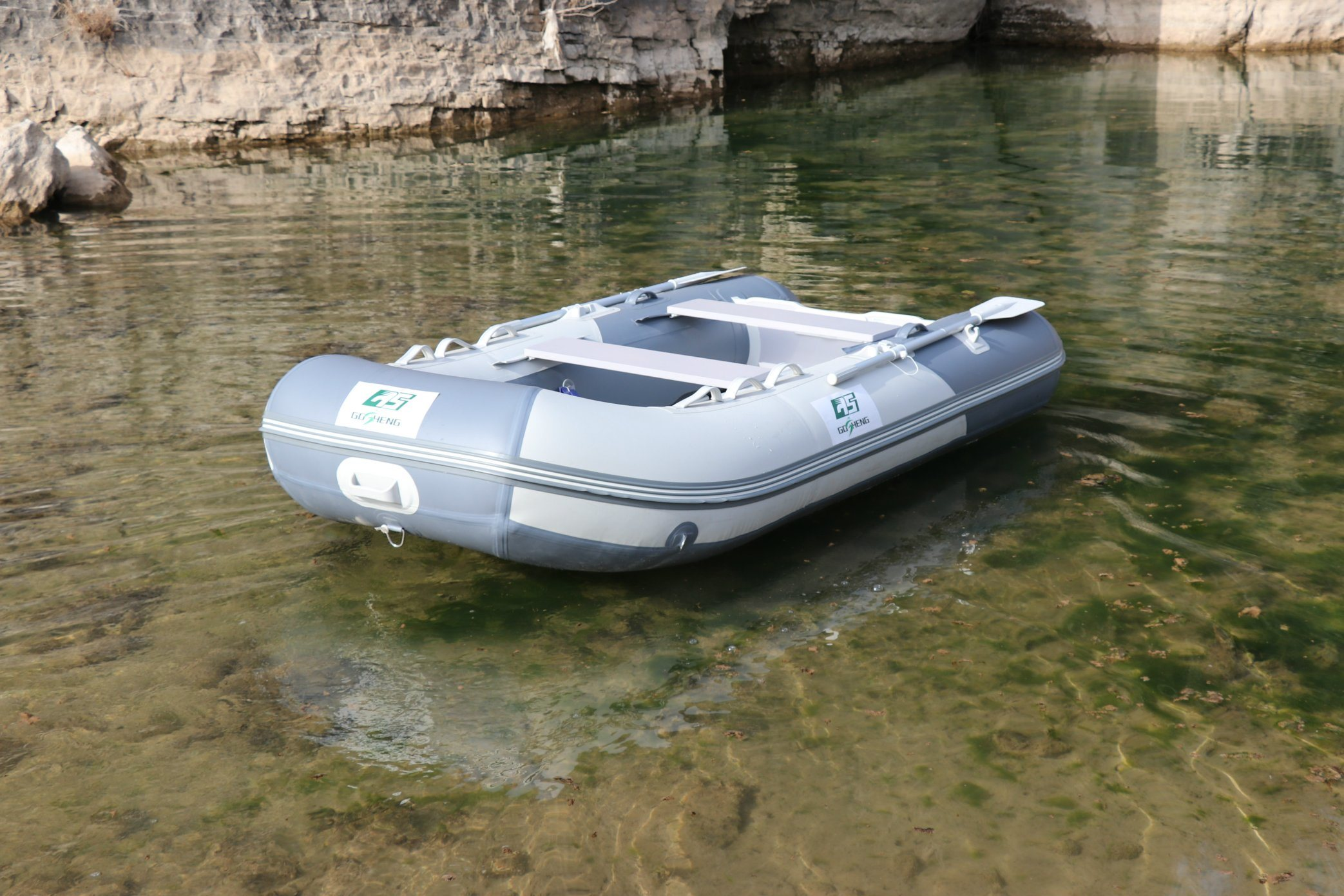 [Hot Item] PVC Rubber Boat Inflatable Boat with Aluminum Floor for Fishing  and Sport