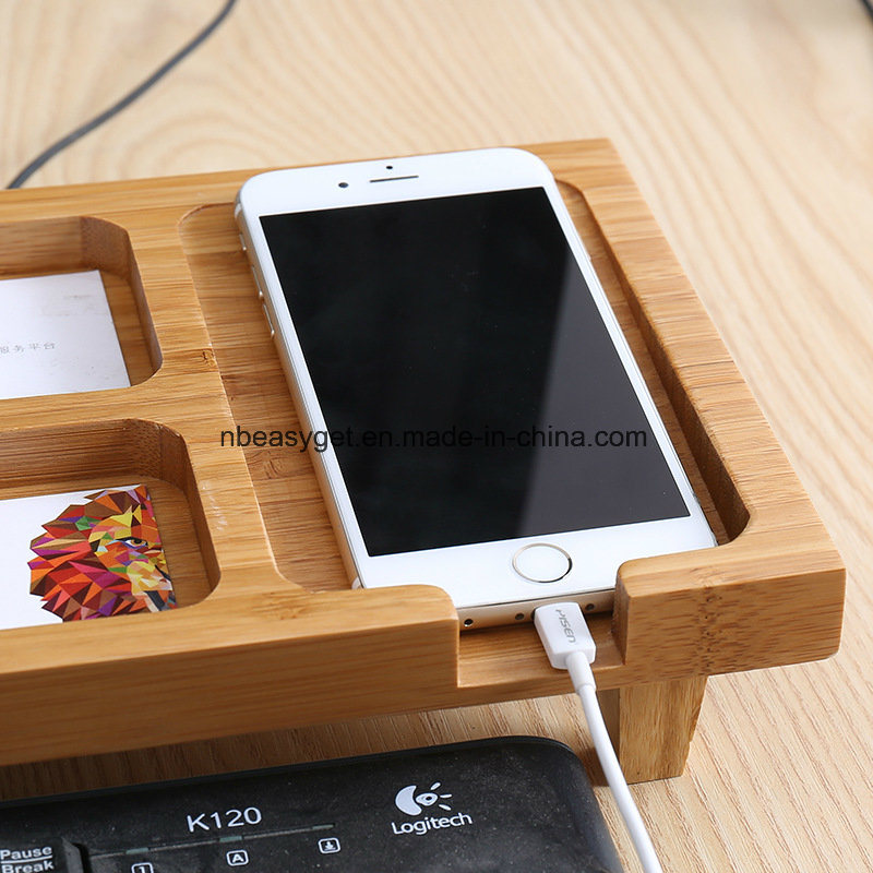 Bamboo Monitor Stand Riser With Storage Organizer Laptop Cellphone Tv Printer Desktop Container Esg10219