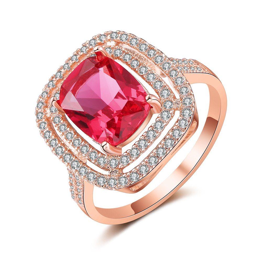 China Artificial Jewelry Luxury Pink Zirconia Gemstone Fashion Ring ...