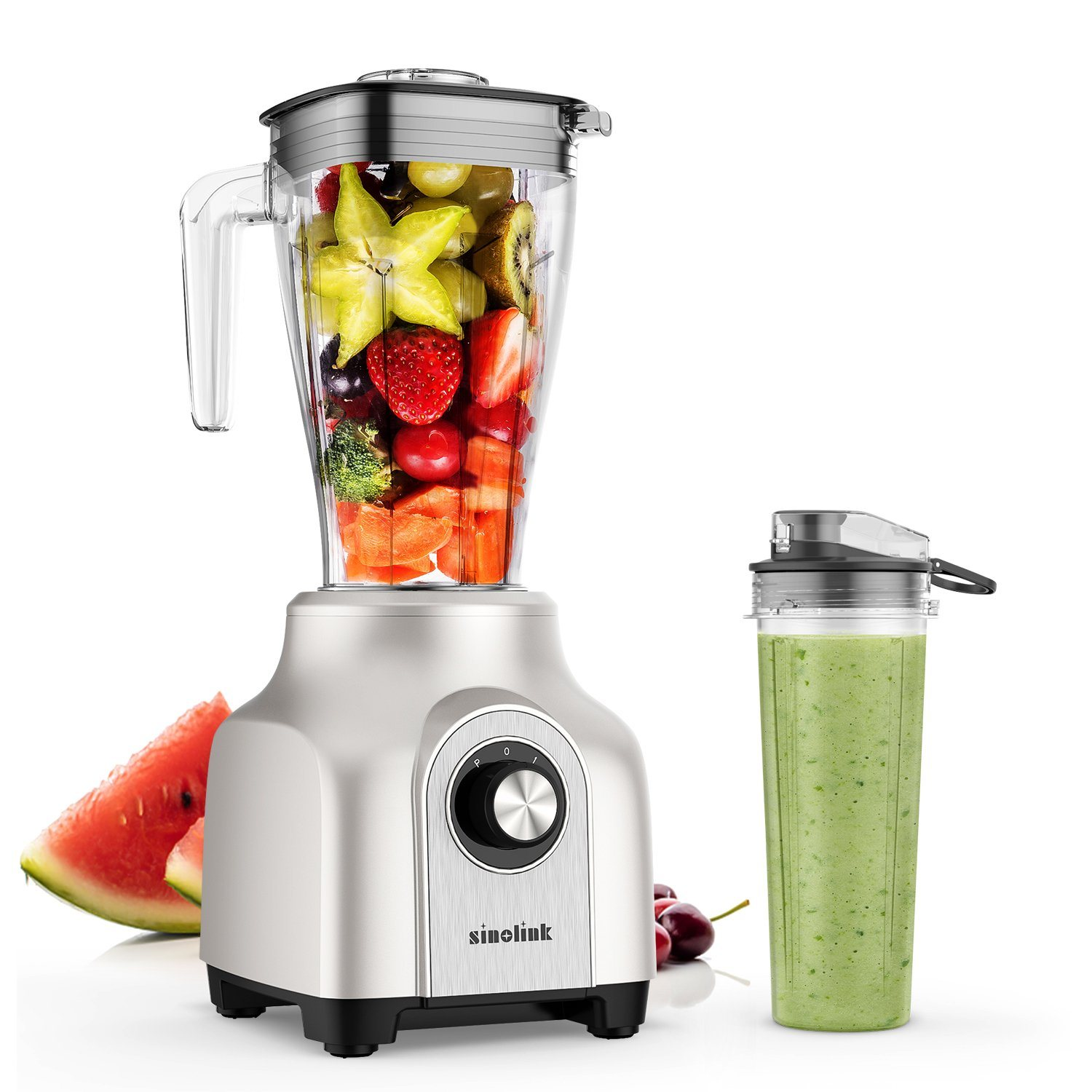 2020 New Smoothie Blender with 1.5L Pitcher and Portable Bottle