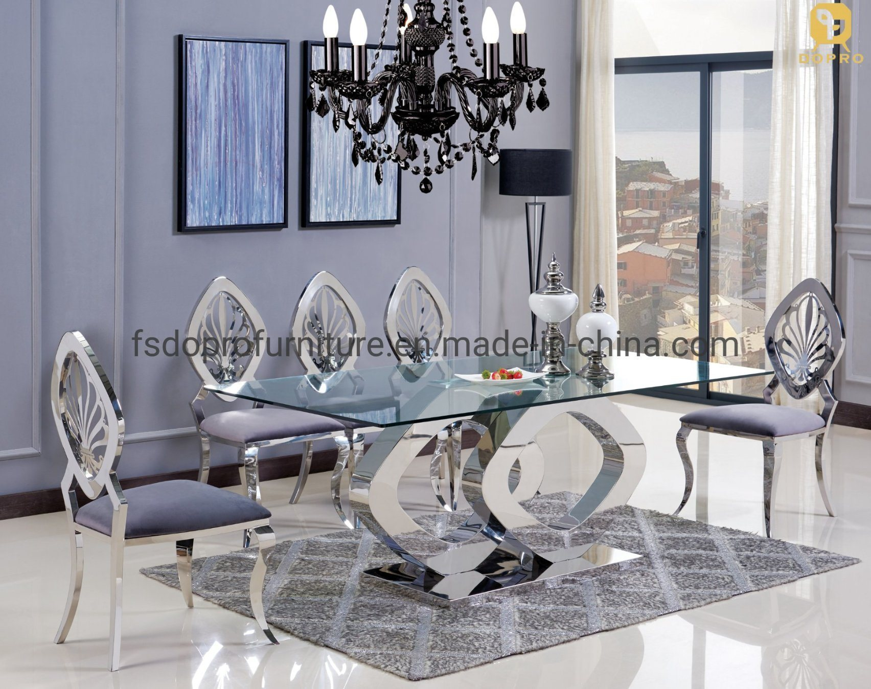 Home Furniture 9 Seats Glass Top Silver Stainless Steel Dining Table  Set D1909