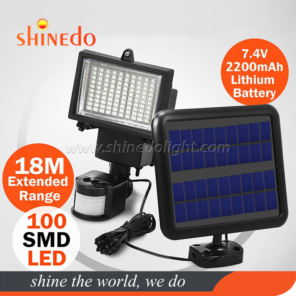 30W 100LED Solar Power Light PIR Motion Sensor Security Outdoor Garden Wall Lamp