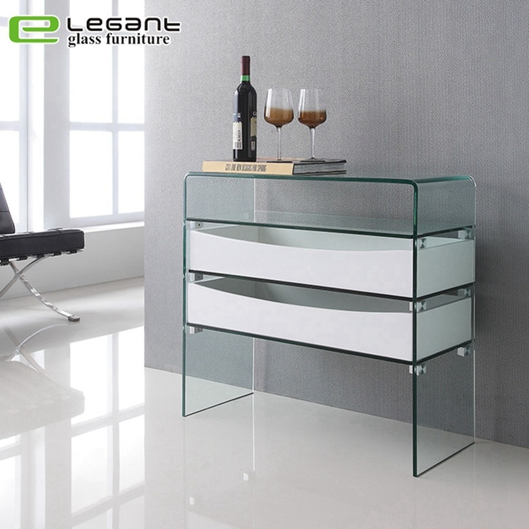 new product 85b09 c39af [Hot Item] Curved Glass Console Table with High Gloss White MDF Drawers