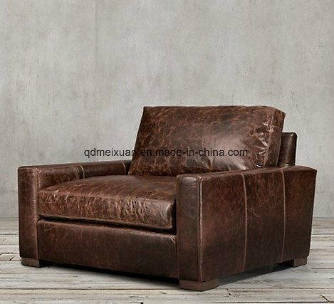 China American Country Sofa Brown Leather Sofa Single Sofa ...