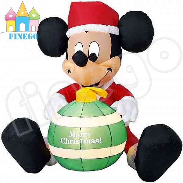 inflatable christmas mickey mouse with fire for outdoor decoration