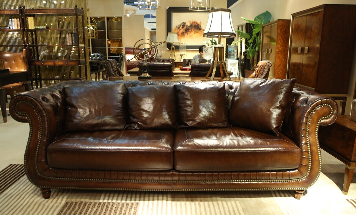 Hot Item Top Quality Brown Color Vintage Chesterfield Sofa Sets