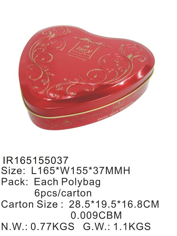 Heart Shape Food Tin Box with Cheaper Price pictures & photos