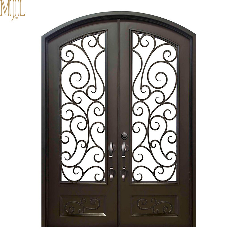 China Exterior Arched Wrought Iron Entry Doors With