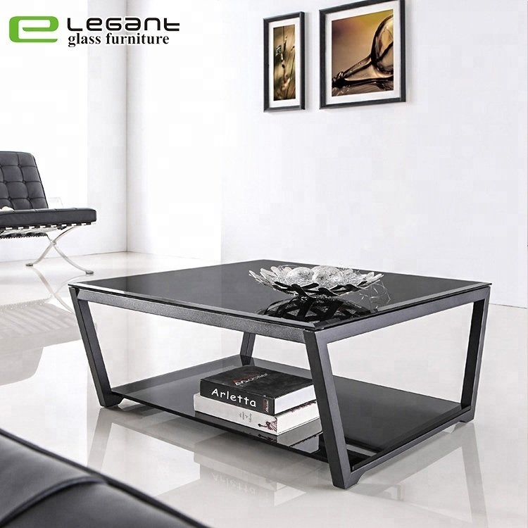 China Modern Living Room Furniture Black Square Double-Sided Glass ...