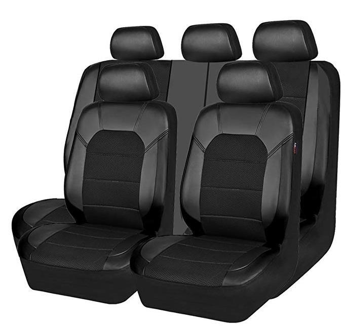 China Leather And Mesh Universal Fit Car Seat Covers Black And