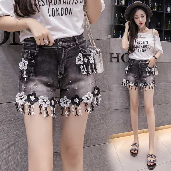 9be8170ff High Waist Lace Hot Shorts Summer Women′s Beach Resort Bohemia Short Jeans  Hole Nice Washing Street Denim Shorts Female Patchwork Flower Tassel Sexy  Short ...