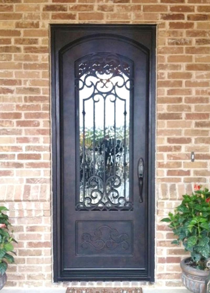 China Luxury Nice Custom Security Single Iron Entry Door With Glass