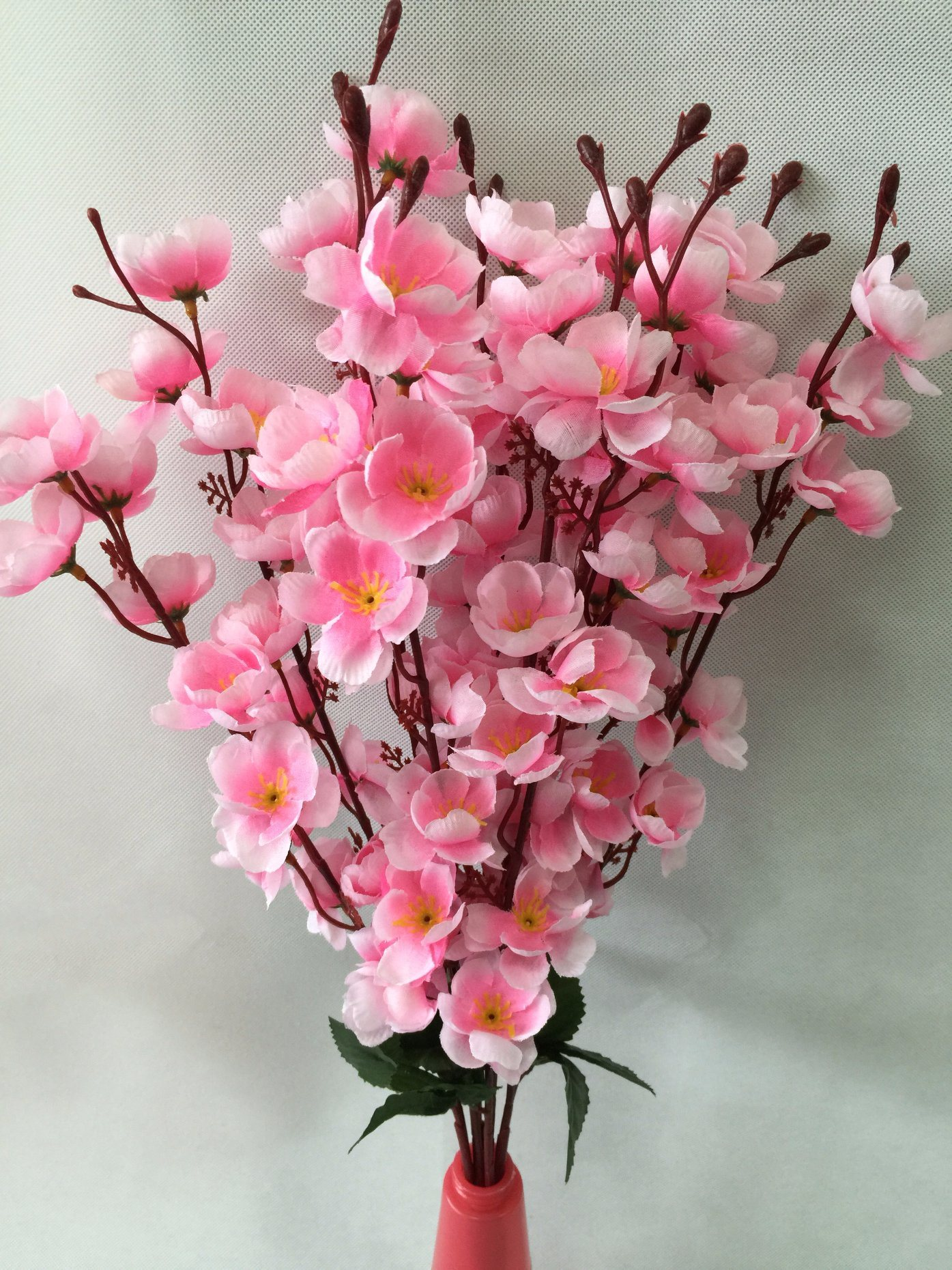 China Silk Artificial Flowers Fake Pink Peach Blossom For Home