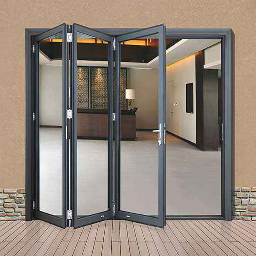 China Spain 3 Panel Interior Aluminum French Folding Glass Doors