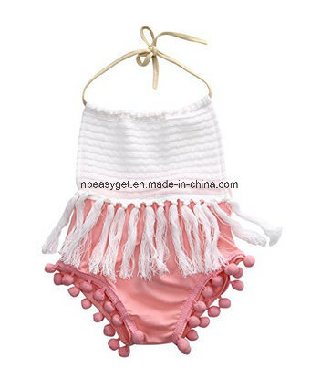 ade39d9a9 China Baby Romper Baby Girls Romper Halter Backless Splice Tassels ...