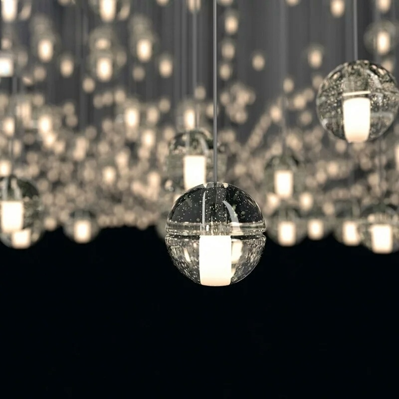 China Modern Indoor Clear Glass Ball Hanging Lighting Pendant Lamp