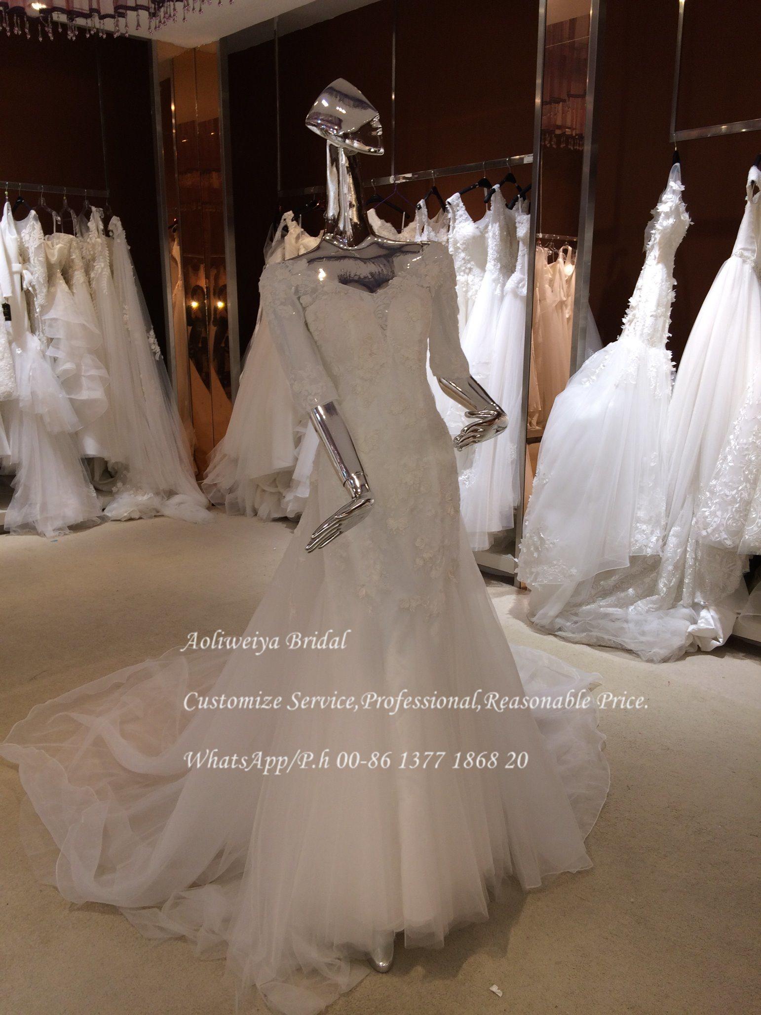 China Aoliweiya Half Sleeve Mermaid Pattern Wedding Dress Photos ...