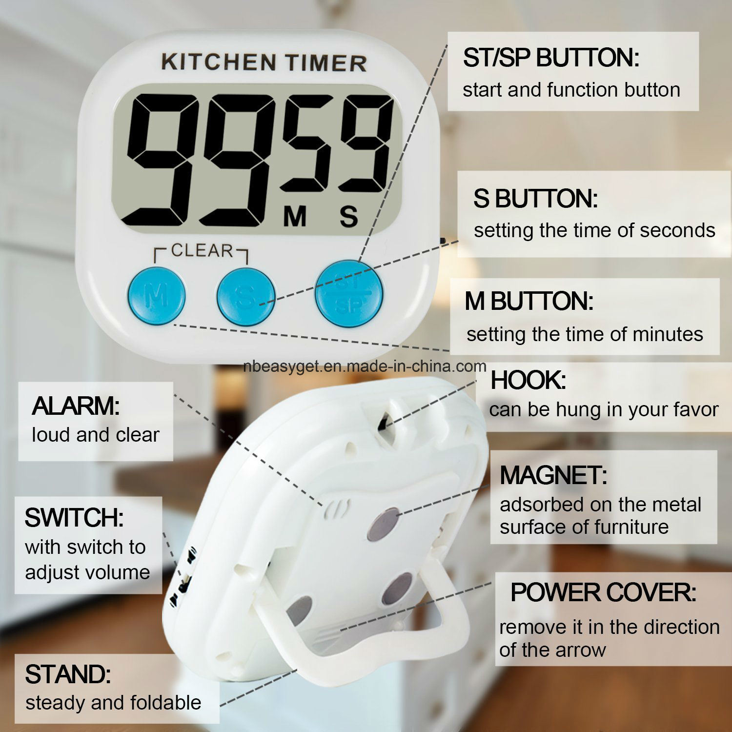 China Digital Kitchen Timer with Premium Magnetic Backing for ...