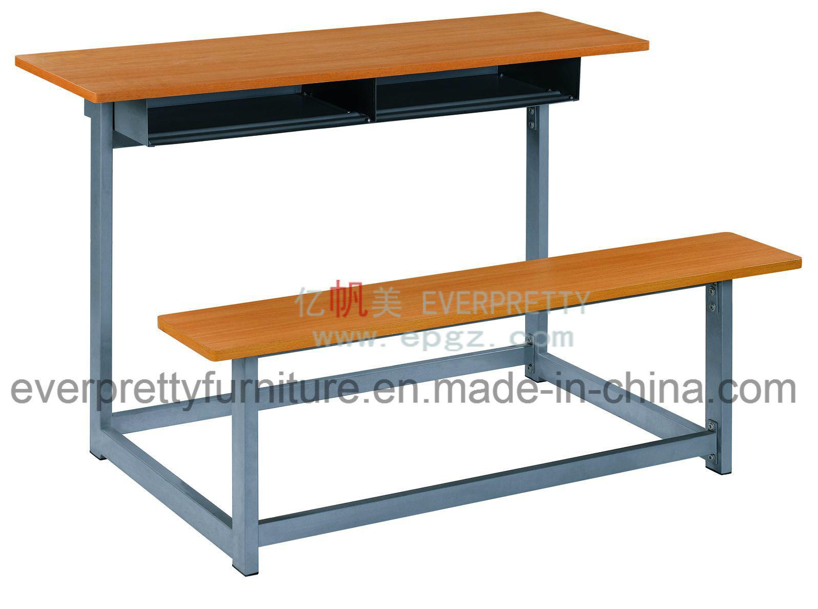 China Promotion Double School Desk Bench Furniture Set