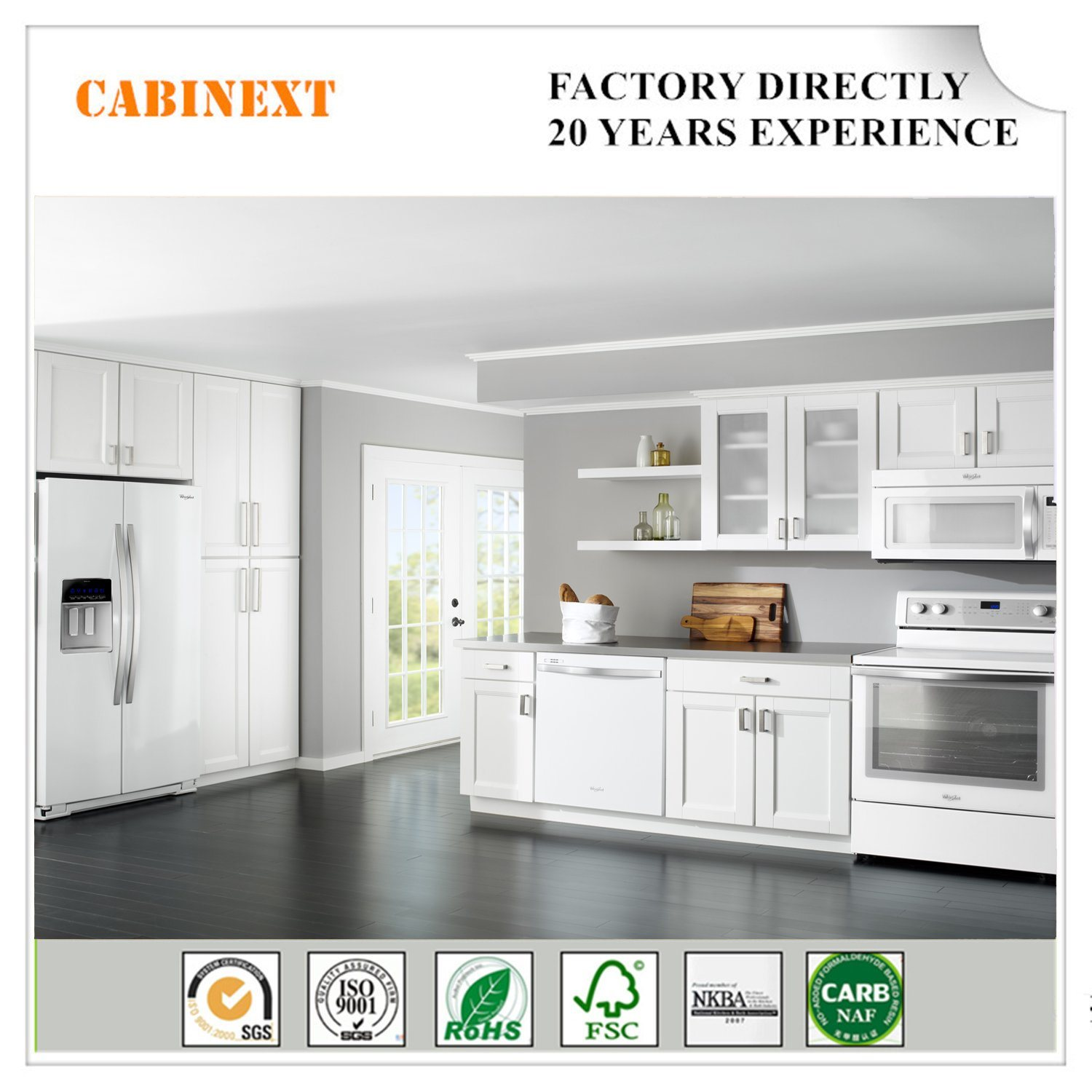 China White Shaker American Kitchen Cabinets Solid Wood ...