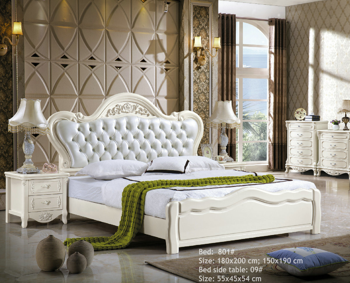 China White Color Apartment King Size Bedroom Sets White Color Leather Bed 801 China Bedroom Set Leather Bed