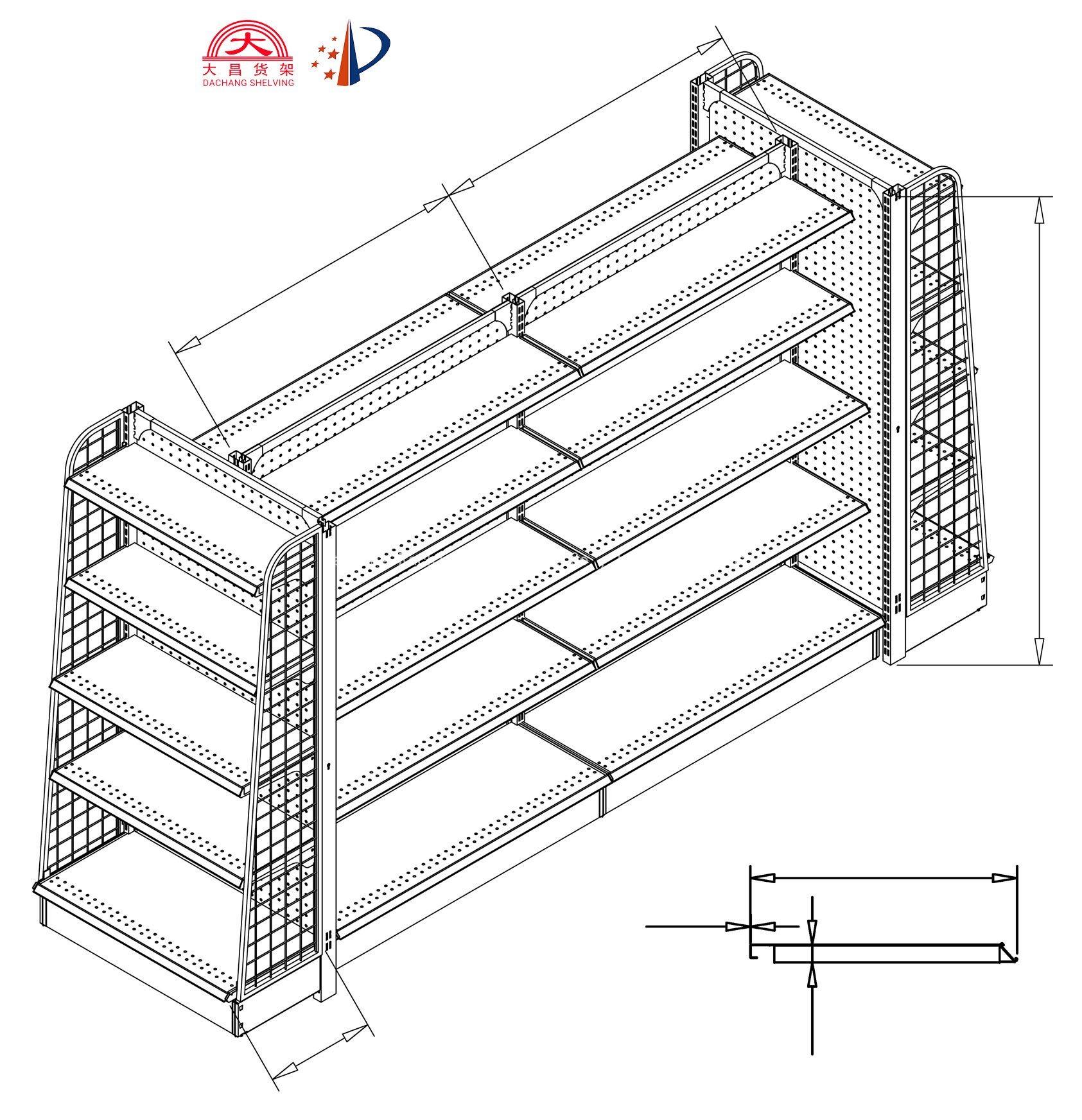 China Supermarket Gondola Shelving Steel Shelves Used To