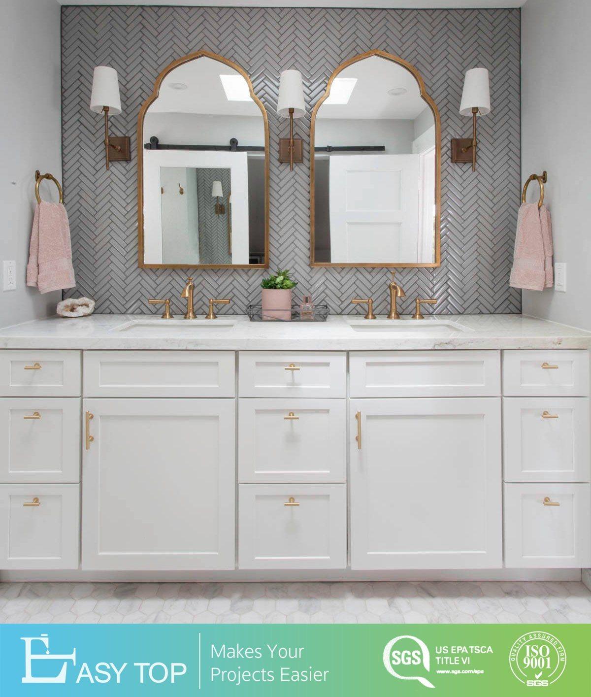 [Hot Item] Guangzhou Supplier Austria Standard Classic Style MDF Shaker  Bathroom Cabinets Bath Vanity