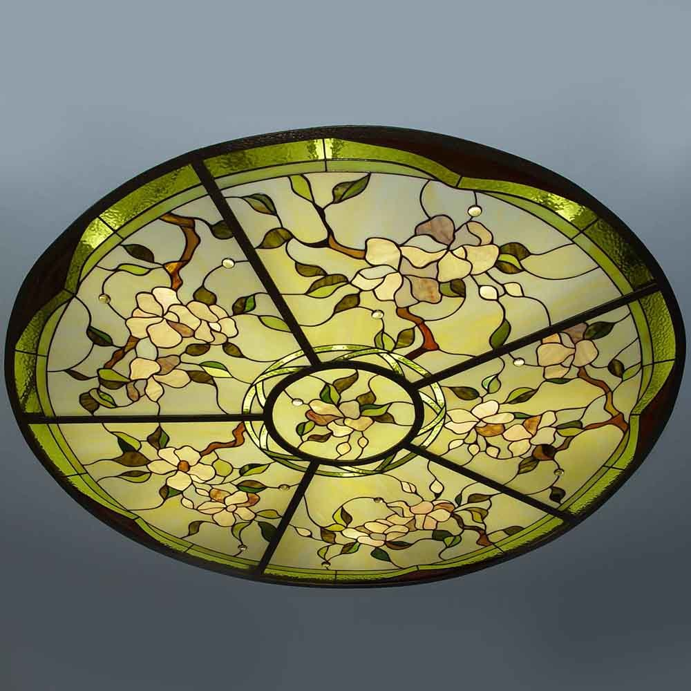 New Commercial Suspended Room Coverings Art Stained Glass Modular Ceiling Dome