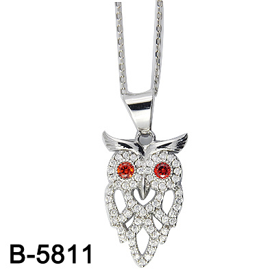 Sterling Silver Cat Pendant with Bird
