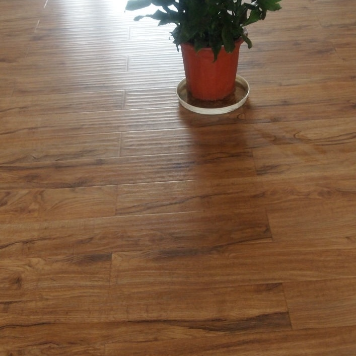 China 12 3mm Machogany Handsed Suraface V Groove Laminate Flooring