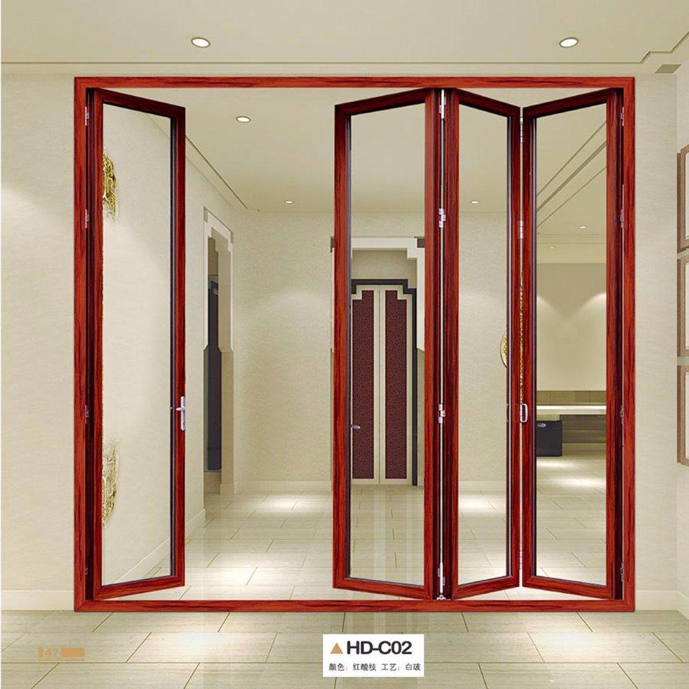 China Wood Color Aluminum Metal Frame Sliding Door Accordion Doors