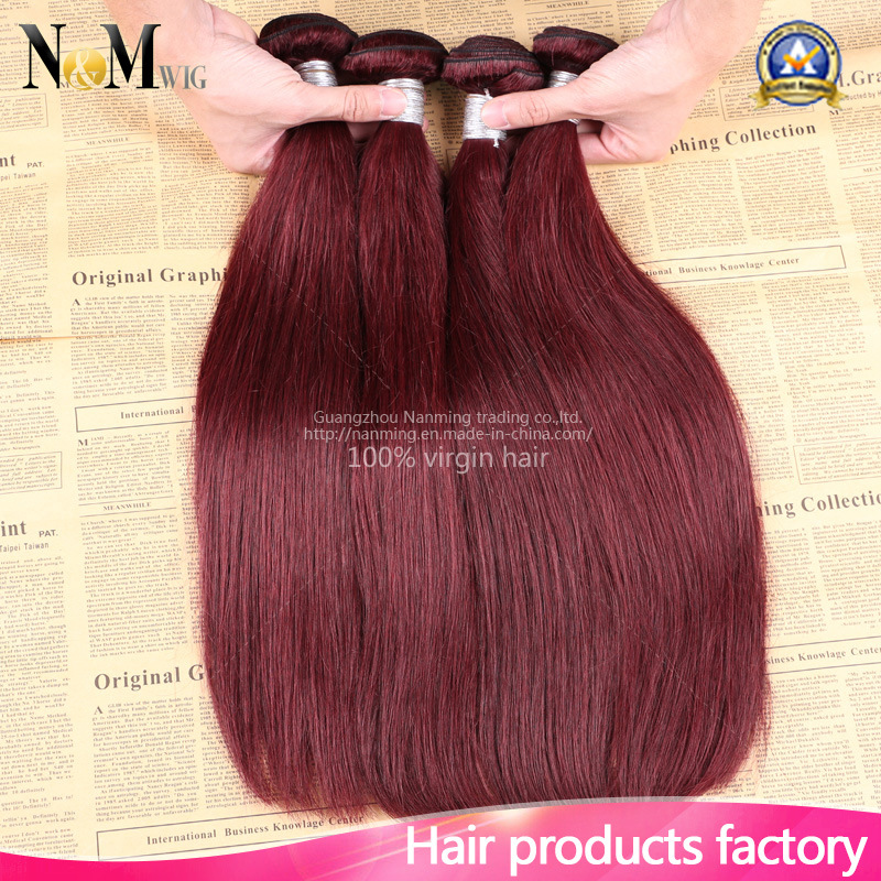 China Burgundy Brazilian Hair Bundles Red Wine Straight Brazilian